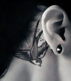 Bird tattoo - behind the ear