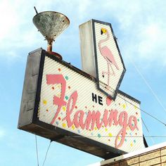 Vintage Flamingo Sign - LOVE the martini glass!