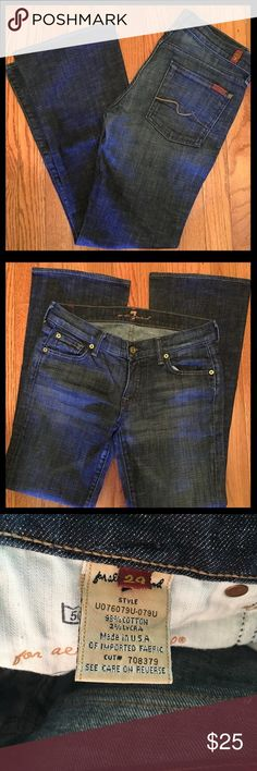 """7 For All Mankind Bootcut Jeans. Size 29. EUC. These SAFM jeans have minimal fade and wear. They were professionally hemmed to 29"""" and the rise is 8"""". Nice dark color. 7 For All Mankind Jeans Boot Cut"""