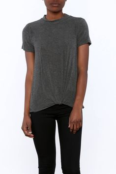 Soft knitted lady cut short sleeve top with a unique tie-up twist on the bottom.   Dark Grey Top by Olive & Oak. Clothing - Tops - Short Sleeve Clothing - Tops - Casual North Carolina