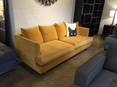 Gus modern Margot sofa in velvet gold leaf at urbanloft.com. Cushions filled with down and polyester fiber. Mid century modern redefined.
