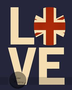 Love British Vintage Flag Typography by JaneAndCompanyDesign