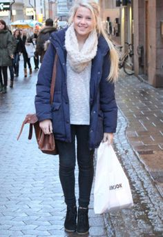 Winter Street Style. I love how put together this outfit is with the scarf and cute boots :)