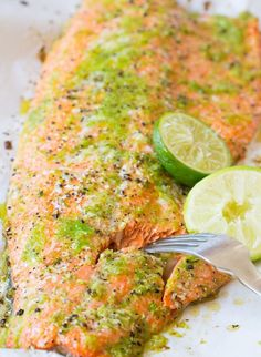 Spicy Garlic Lime Baked Salmon with Jalapeño.