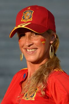 A Spain fan enjoys the pre match atmosphere during the UEFA EURO 2012 final match between Spain and Italy