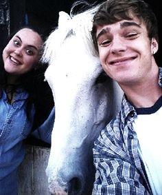Nico Mirallegro, Sharon Rooney and Eddie the horse BTS