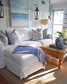 Coastal Living Room Decor Photos, Home Decorators Collection Aldridge Beach Cottage Style, Coastal Cottage, Coastal Homes, Beach House Decor, Coastal Decor, Home Decor, Coastal Style, Cottage Living, Beach Apartment Decor