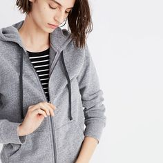 """Inspired by the Japanese concept of """"one-mile wear,"""" Mile(s) by Madewell is a collection for all the stuff you do close to home—the post-workout hangs, the neighborhood coffee strolls, the couch marathons. Made of soft fabrics in sleek shapes, it's your new weekend-starts-now uniform. Take this slouchy zip-front sweatshirt—inspired by a perfect vintage hoodie, it has a lived-in vibe that's all kinds of cozy. <ul><li>True to size.</li><li>Cotton&#..."""