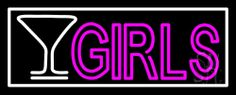Martini Glass Girls With White Border Neon Sign 13 Tall x 32 Wide x 3 Deep, is 100% Handcrafted with Real Glass Tube Neon Sign. !!! Made in USA !!!  Colors on the sign are White and Pink. Martini Glass Girls With White Border Neon Sign is high impact, eye catching, real glass tube neon sign. This characteristic glow can attract customers like nothing else, virtually burning your identity into the minds of potential and future customers.
