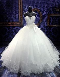 Gorgeous Ball Gown Sweetheart Beading Flowers Floor- Length Charming Wedding Dress Wedding Dresses 2014- ericdress.com 10904281