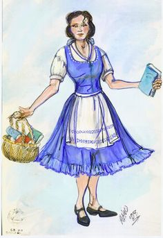 """Costume sketch for the character """"Belle"""" in the national tour of the play """"Beauty and the Beast."""" (Sketch by Ann Hould-Ward/Center Stage Marketing)"""