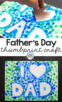 I Love Dad Thumbprint Craft for Father's Day Thumbprint crafts are cute and personalized gift ideas for any occasion. Make his day this year with this I Love Dad thumbprint craft for Father's Day. Kids Fathers Day Crafts, Fathers Day Art, Fathers Day Presents, Crafts For Kids, Toddler Fathers Day Gifts, Fathers Day Ideas, Diy Father's Day Crafts, Father's Day Diy, Cork Crafts