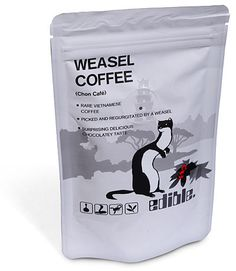 """#Oddities  Weasel Puke Coffee  from Vietnam.  This """"gourmet treat"""" is made from coffee beans which are vomited by weasels.  The stomach acids of the weasels had rid the bitterness of the bean to a certain extent, and the beans are then lightly roasted without washing!  Some have described the taste of Weasel Puke Coffee as """"delicious and smooth"""" and with """"a rich chocolaty flavor"""". This left me with some questions: Why do these weasels puke coffee beans?   What made them puke?"""