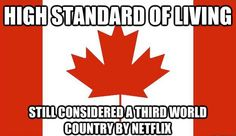 Canada: high standard of living, still considered a third world country by Netflix Canadian Facts, Canadian Memes, Canadian Things, I Am Canadian, Canadian Humour, Canada Funny, Canada Eh, Toronto Canada, Canada Jokes