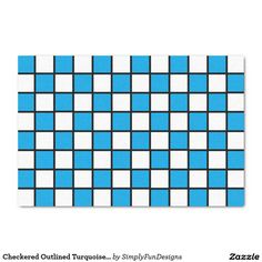 "Checkered Outlined Turquoise and Black 10"" X 15"" Tissue Paper"