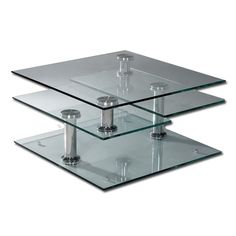 Tempered Glass 4 Tier Swivel Coffee Table cakepins.com