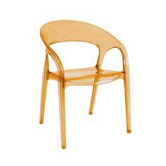 $579,00. Cadeira em Policarbonato laranja injetado, com apoio para os braços. Na SD Online ela está 23% OFF