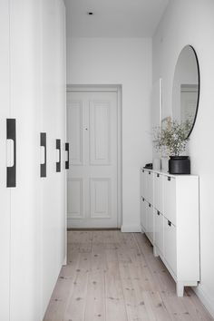 Entry Hallway Floor Hallway Tile Ideas Hall With Narrow Hallway Tiled Floor Narrow Hallway Home Entryway Decor Hallway Wall Decor, Entry Hallway, Entryway Decor, Narrow Entryway, Modern Entryway, Hallway Ideas, Ikea Hallway, White Hallway, Entryway Ideas