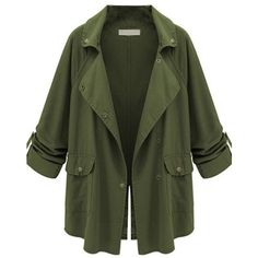 Appealing Lapel With Pockets Plain Trench Coats ($34) ❤ liked on Polyvore featuring outerwear, coats, jackets, trench coats, pocket coat, long trench coats, green coats and long lapel coat