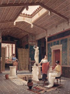 Reconstruction, in a romantic painting, of the interior of a Ville in Pompeii