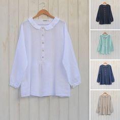 Linen Lagenlook Peter Pan Collar Shirt #linen #lagenlook #plussize Beautiful vintage style peter pan collar Linen Blouse. Stunning shirt!