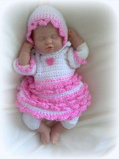 Sweet Heart crochet dress, bonnet and diaper cover