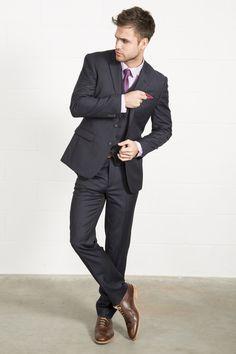 FELLINI TAILORED Luxury Wool Mix Navy Stripe Three Piece Suit // Slater  Menswear
