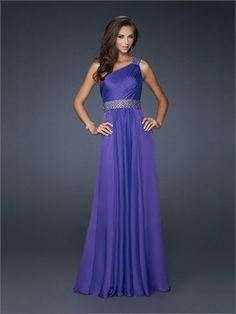 One shoulder Beaded Waistband and Shoulder Strap Chiffon Prom Dress PD10824 www.dresseshouse.co.uk $116.0000