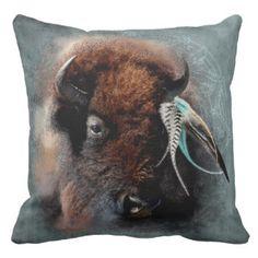 De bizon - Hoofdkussen Sierkussen