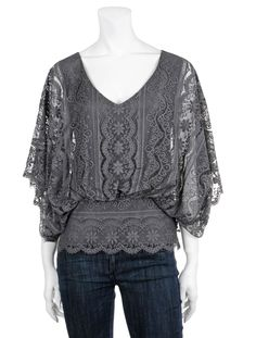 BEYOND VINTAGE Batwing Lace Blouse - at Scoop NYC