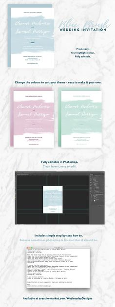 Wedding Invite - Blue Brush Templates The Blue Brush Wedding Invite includes:- 1 x Wedding Invitation PSDDetails: - When printed, the by Wednesday Designs Diaper Invitation Template, Diy Wedding Invitations Templates, Baptism Invitations, Simple Wedding Invitations, Passport Invitations, Invites, Flower Invitation, Photoshop Elements, Simple Weddings