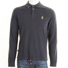 Luke 1977 Long Sleeve Keytey Polo T Shirt in Dark Navy
