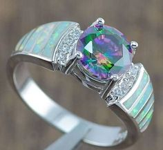 White-Fire-Opal-Rainbow-Topaz-Women-Jewelry-Gems-Silver-Ring-5-6-7-8-9-10-OJ4842 #opalsaustralia