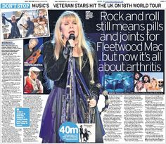 Stevie's ♫♥❤♥♫ featured in this news article, dated June 6th, 2015 about Fleetwood Mac going on their 18th world tour to Glasgow ~ 'Fleetwood Mac on 18th world tour: Rock and roll still means pills and joints for Fleetwood Mac.. but now it's all about arthritis' ~ http://www.fleetwoodmacnews.com/2015/06/fleetwood-mac-set-to-bring-18th-world.html?spref=pi