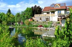 Ein traumhaftes Ferienhaus in Franken eingebettet in der Natur. Toller Ausblick, Schwimmteich, Gartensauna. Wellnessbereich...