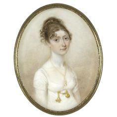 Thomas Hazlehurst, Portrait of Mary Ryding, née Pownall, ca.1805. Love her fobs