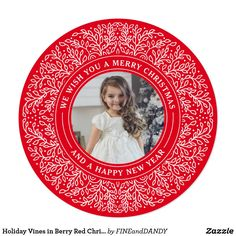 """Holiday Vines in Berry Red Christmas Photo Card Send holiday cheer with a festive photo card! This festive design features traditional red and green holiday florals with a navy blue backdrop. For more advanced customization of this design, simply select the """"Customize It"""" button above! All photography is displayed as a sample only and is not for resale. This product is only intended to be purchased once sample photos are replaced with your own images."""