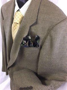 Oscar de La Renta Mens Sport Coat 42R Silk Wool 2 Button Jacket Houndstooth EUC #OscardelaRenta #TwoButton