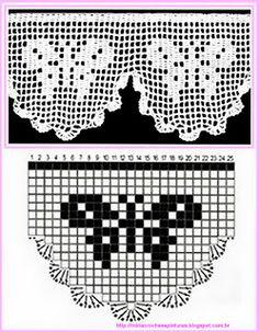 trendy crochet edging and borders double Filet Crochet Charts, Crochet Borders, Knitting Charts, Crochet Motif, Crochet Designs, Crochet Doilies, Knit Crochet, Thread Crochet, Crochet Hearts