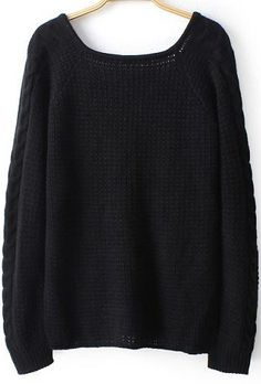 Black Long Sleeve Backless Knit Loose Sweater Pull Lâche, Chandail À  Manches Longues, Backless b304713eb2fd