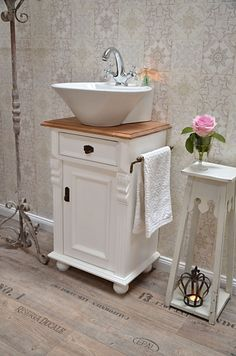 """Montcalm"" country-style vanity of bathroom furniture-country house, country and. - ""Montcalm"" country-style vanity of bathroom furniture-country house, country and love- # - Diy Bathroom Vanity, Diy Vanity, Vanity Sink, Bathroom Furniture, Small Bathroom, Bathroom Pink, Diy Furniture, Baños Shabby Chic, Shabby Chic Zimmer"