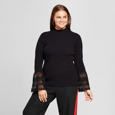 Women's Plus Size Lace Bell Sleeve Ribbed Crew - Who What Wear - Black Fall Collections, Fall Wardrobe, Wearing Black, Who What Wear, Chic Outfits, Looks Great, Bell Sleeves, High Neck Dress, Turtle Neck