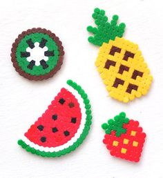 fruit hama perler bead craft pattern crossstitch design mypoppet com Easy Perler Bead Patterns, Melty Bead Patterns, Perler Bead Designs, Perler Bead Templates, Hama Beads Design, Diy Perler Beads, Perler Bead Art, Craft Patterns, Beading Patterns
