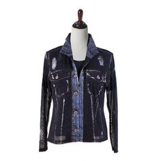 Jean Jacket Print on Lightweight Mesh w/Matching Tee Zip-Front Long Sleeves Adjustable Collar Soft Knit Short Sleeve Top Poly/Spandex S - XL Wash Cold or Dry C Mesh Jacket, Knit Shorts, Blue Fashion, Blue Denim, Twins, Short Sleeves, Nyc, Leather Jacket, Jackets