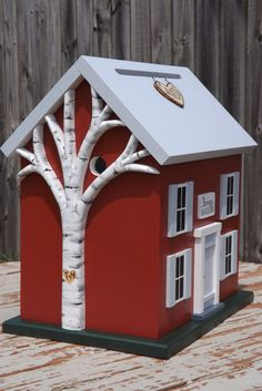 Birch Tree Option Large Wedding Card Box Birdhouse with Heart Carved Birch Tree.