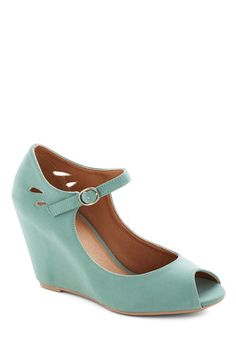 Bridesmaid shoes?? Mind Over Matte Wedge in Sage, #ModCloth