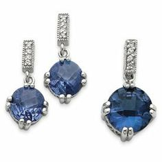 Sterling Silver Blue and Clear CZ Pendant and Earring Set - JewelryWeb JewelryWeb. $109.60. Save 50%!