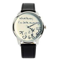 White and Black 'Whatever, I'm late anyway' watch   ZIZ iz TIME