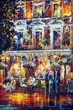 SHERLOCK HOLMES - PALETTE KNIFE Oil Painting On Canvas By Leonid Afremov - https://afremov.com/SHERLOCK-HOLMES-PALETTE-KNIFE-Oil-Painting-On-Canvas-By-Leonid-Afremov-Size-24x40.html