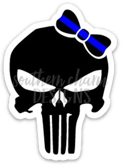 Thin Blue Line Punisher Bow Decal - Southern Charm Designs Police Wife Life, Police Family, Police Tattoo, Female Police Officers, T Shirt Design Template, Silhouette Cameo Projects, Thin Blue Lines, Punisher, Black And Grey Tattoos